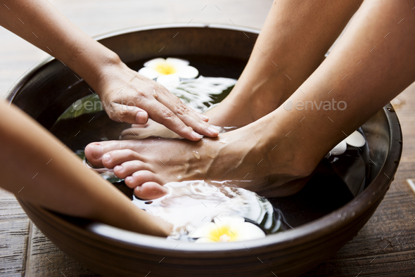 Closeup of a foot spa - Stock Photo - Images
