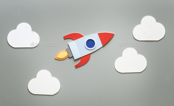 Launch rocket spaceship startup business - Stock Photo - Images