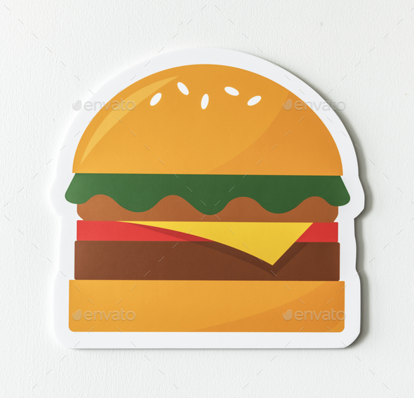 Cheesebuerger fast food icon graphic - Stock Photo - Images