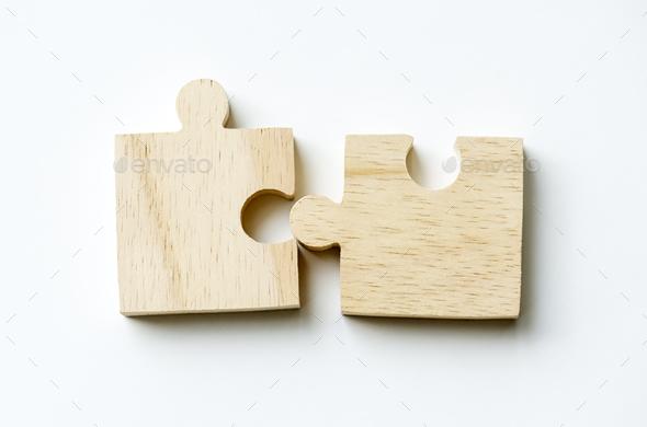 Jigsaw teamwork concept macro shot - Stock Photo - Images