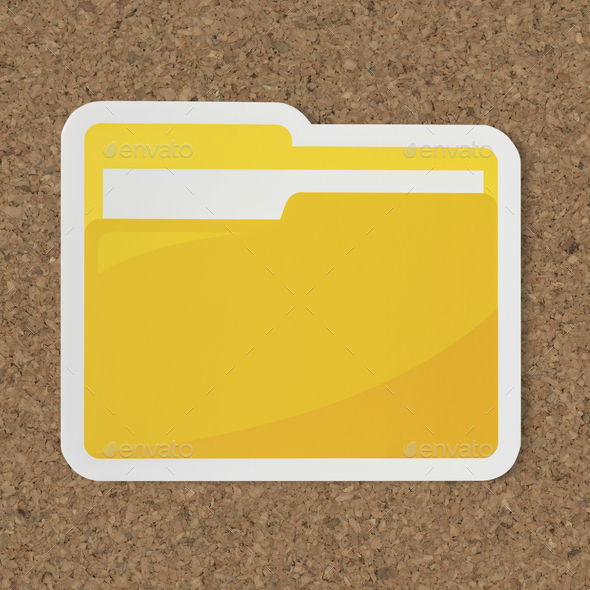 Icon of a yellow folder - Stock Photo - Images