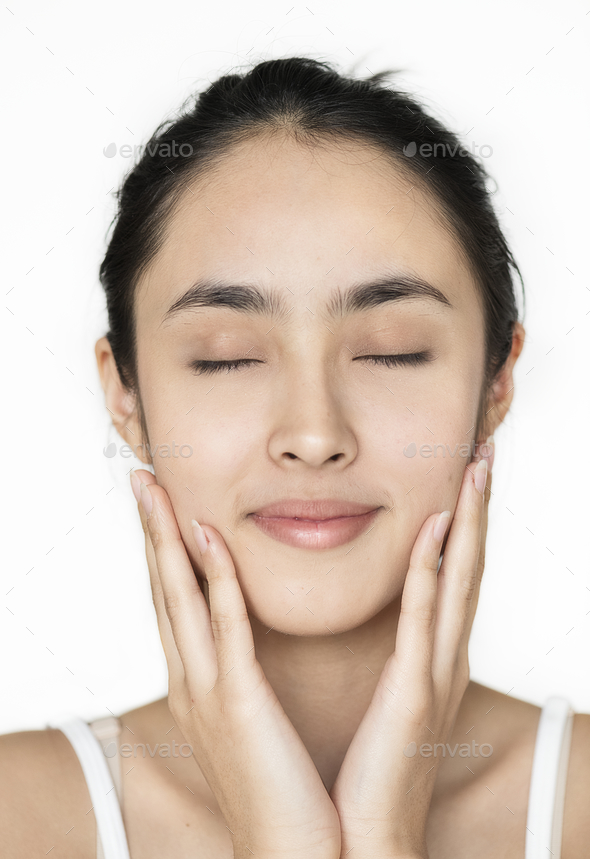 Young Asian girl portrait isolated skincare concept - Stock Photo - Images