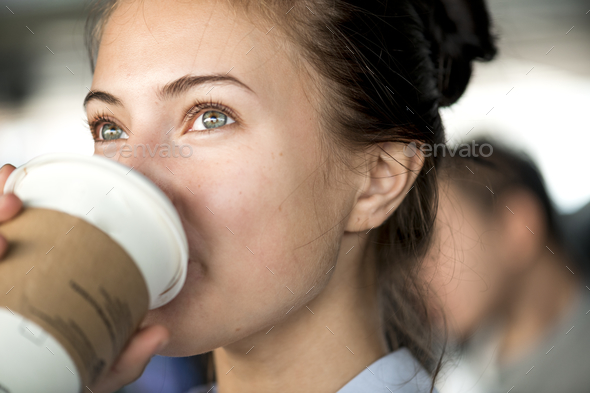 Woman enjoy morning coffee - Stock Photo - Images