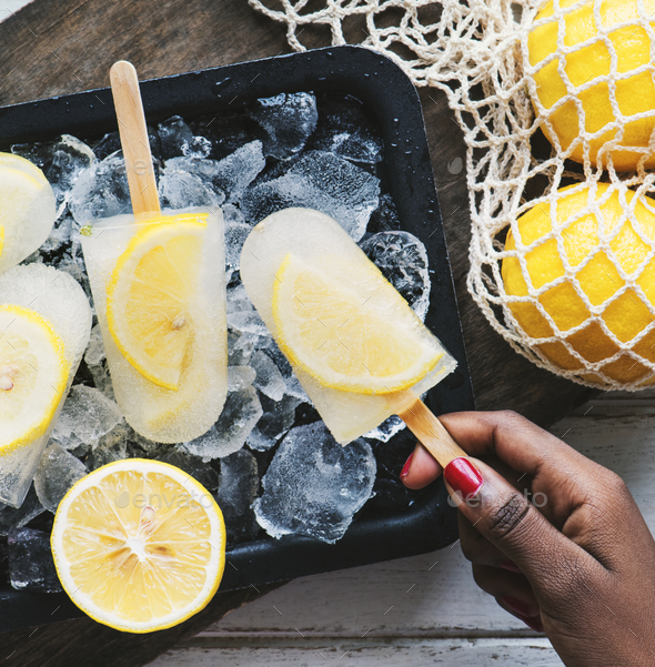 Homemade fresh lemon and citrus posicles - Stock Photo - Images