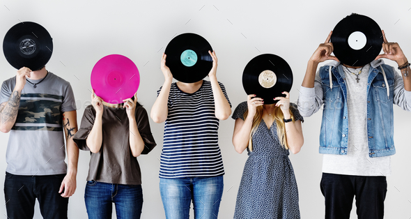 Friends enjoying the music - Stock Photo - Images