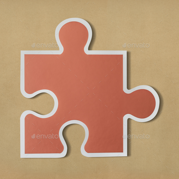 Jigsaw puzzle piece strategy icon - Stock Photo - Images