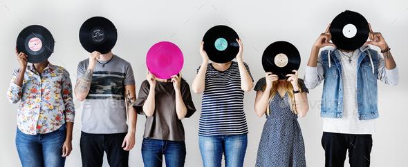 People together enjoying music - Stock Photo - Images