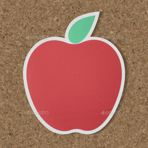 Red apple icon with leaf - Stock Photo - Images