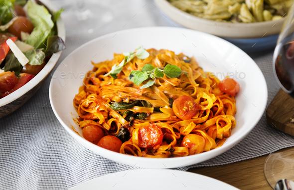 Closeup of homemade Italian food - Stock Photo - Images