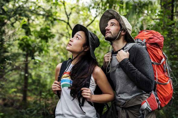 Trekking in a forest - Stock Photo - Images