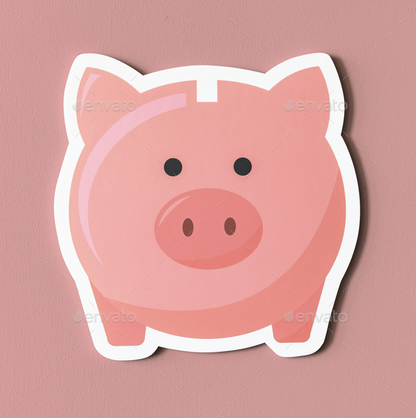 Pink piggy bank savings icon - Stock Photo - Images