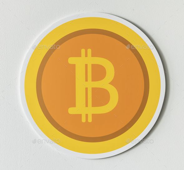 Golden bitcoin cryptocurrency icon isolated - Stock Photo - Images