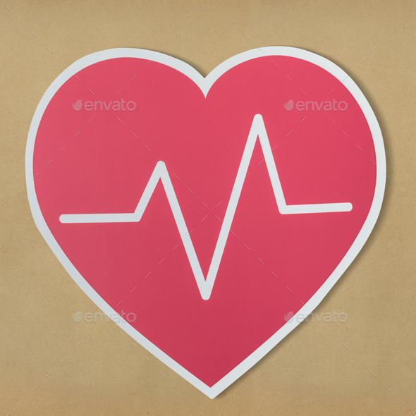 Heart disease medicine cut out icon - Stock Photo - Images