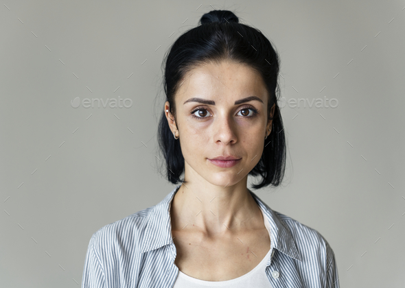Portrait of cheerful Caucasian woman - Stock Photo - Images