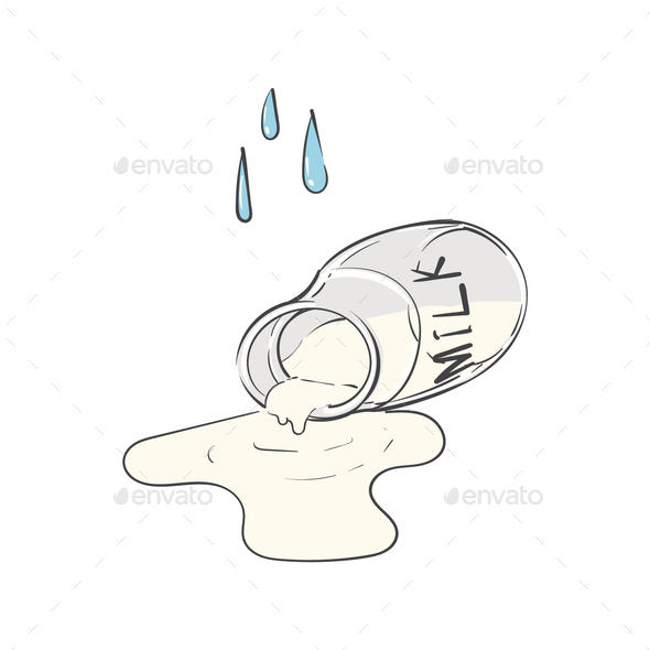 Cry over spilt milk idiom vector - Stock Photo - Images