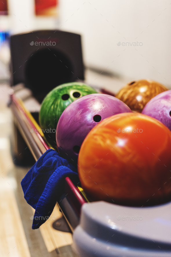 Bowling ball on the stand with a napkin - Stock Photo - Images