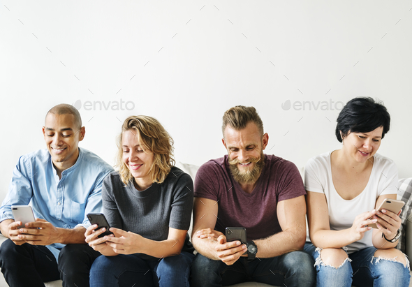 People using a smartphone - Stock Photo - Images