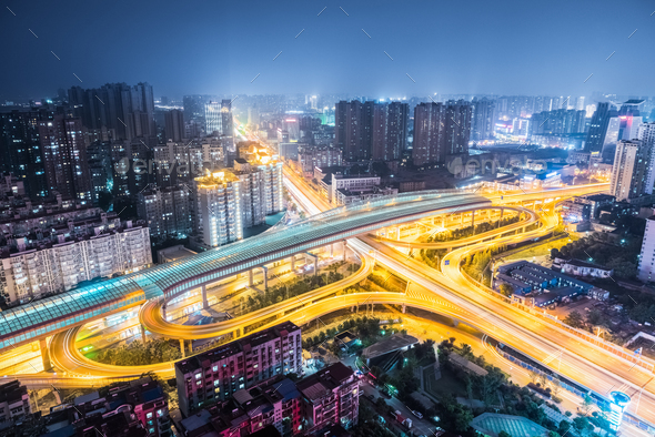 city interchange at night - Stock Photo - Images