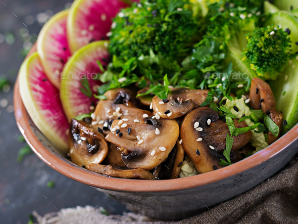 Vegan buddha bowl dinner food table. Healthy food. Healthy vegan lunch bowl.  - Stock Photo - Images