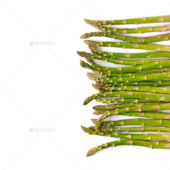 Background from isolated on white background asparagus. Top view - Stock Photo - Images