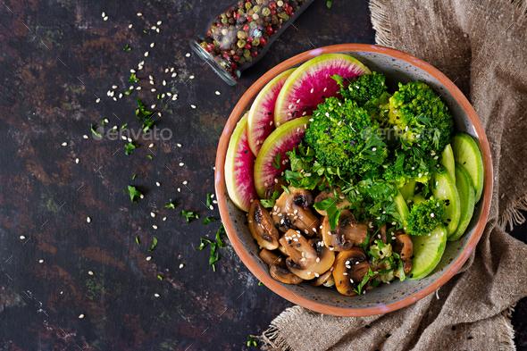 Grilled mushrooms, broccoli, radish salad. - Stock Photo - Images