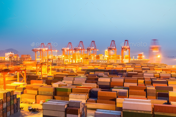 container wharf in nightfall - Stock Photo - Images