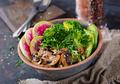 Healthy vegan lunch bowl. Grilled mushrooms, broccoli, radish salad - PhotoDune Item for Sale