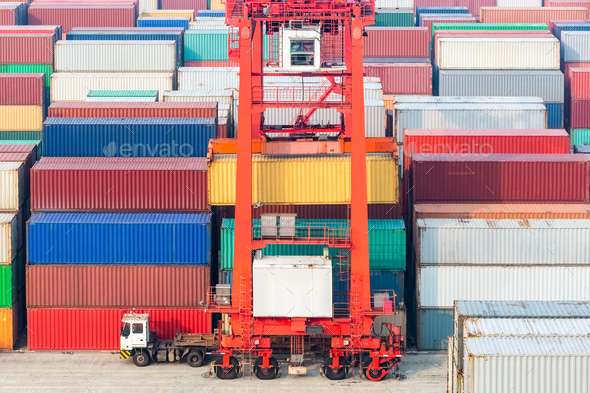 container freight station, container yard and transtainer - Stock Photo - Images