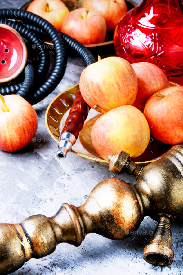 Shisha hookah with apple - Stock Photo - Images