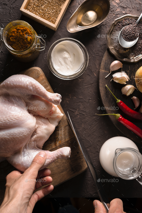 Ingredients for cooking chicken curry on the table closeup. Indian food - Stock Photo - Images