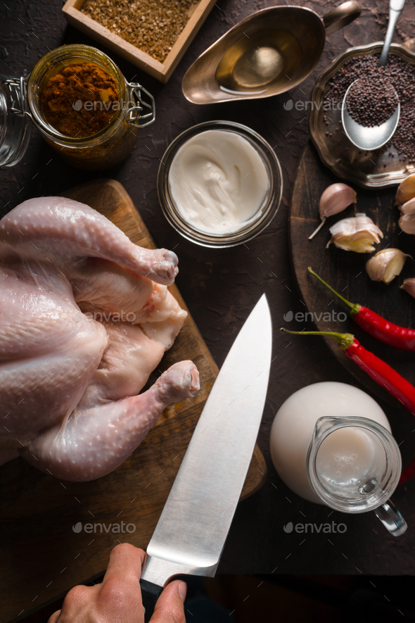 Ingredients for cooking chicken curry on the table. Indian food - Stock Photo - Images