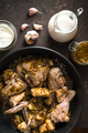 Fried pieces of chicken in a frying pan view from above. Indian food - PhotoDune Item for Sale