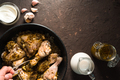 Fried pieces of chicken in a frying pan, sour cream and milk. Indian food - PhotoDune Item for Sale