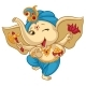 Ganesha Elephant Cartoon Baby Vector Illustration