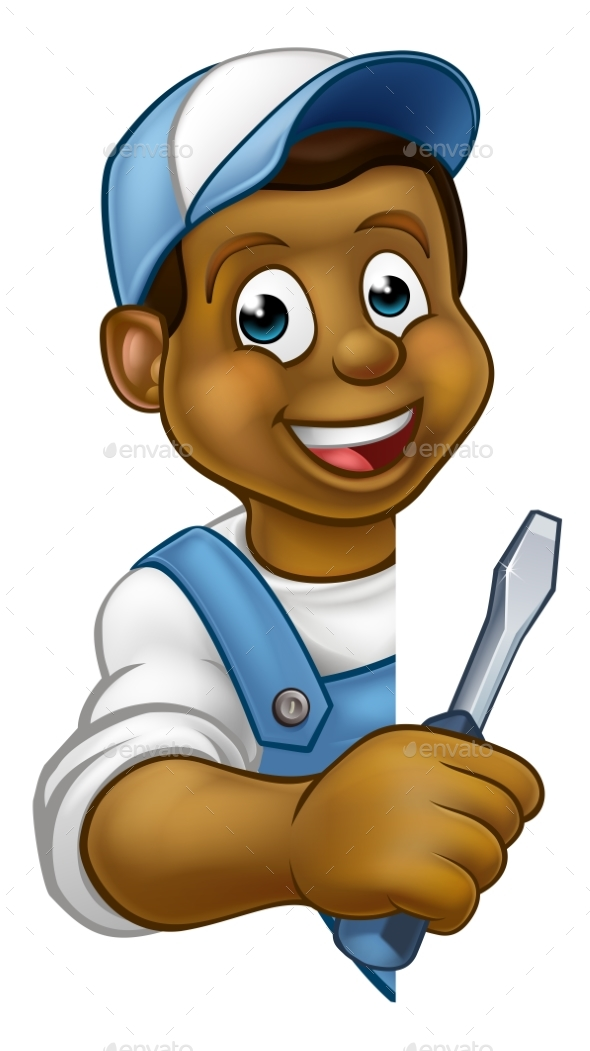 Electrician Builder Cartoon Character - People Characters