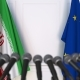 Flags of Iran and the European Union at International Press Conference - VideoHive Item for Sale
