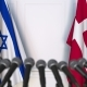 Flags of Israel and Denmark at International Press Conference - VideoHive Item for Sale