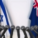 Flags of Israel and Australia at International Press Conference - VideoHive Item for Sale