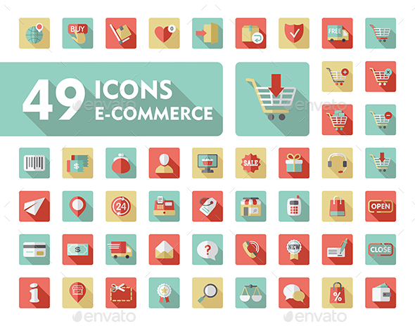 E-commerce set vector icons shopping and online - Food Objects