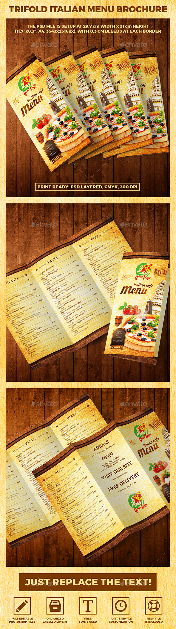 Trifold A4 Italian Menu Brochure vol.1 - Food Menus Print Templates