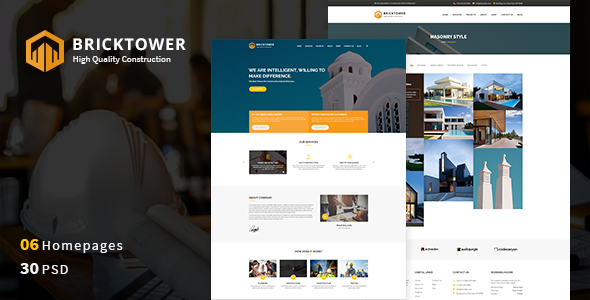 Bricktower - Construction Business, Building Company PSD Template - Business Corporate