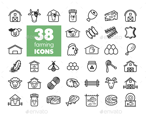 Farm animal icons vector set - Food Objects