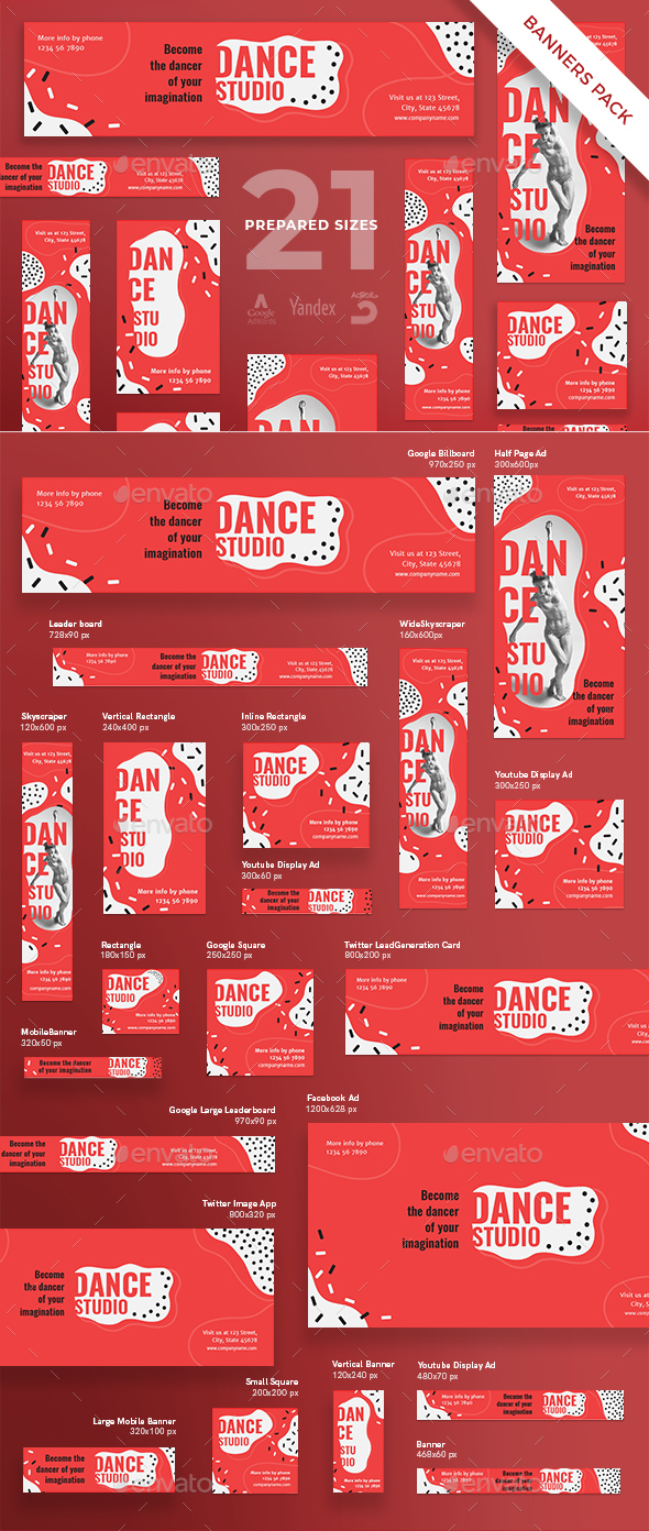 Dance Studio Banner Pack - Banners & Ads Web Elements