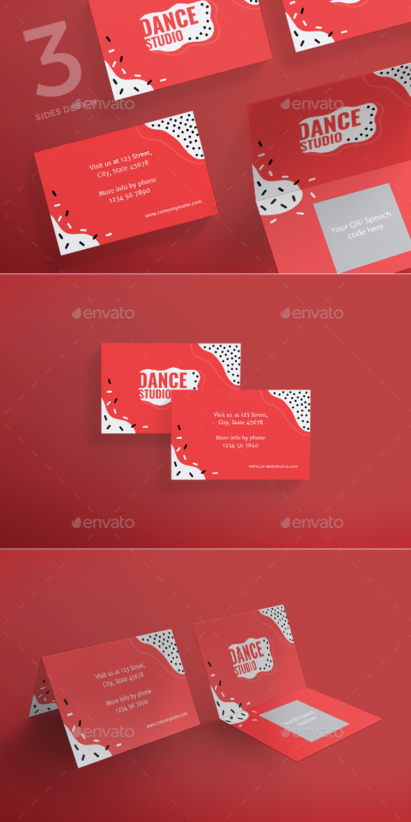 Dance Studio Business Card by ambergraphics | GraphicRiver