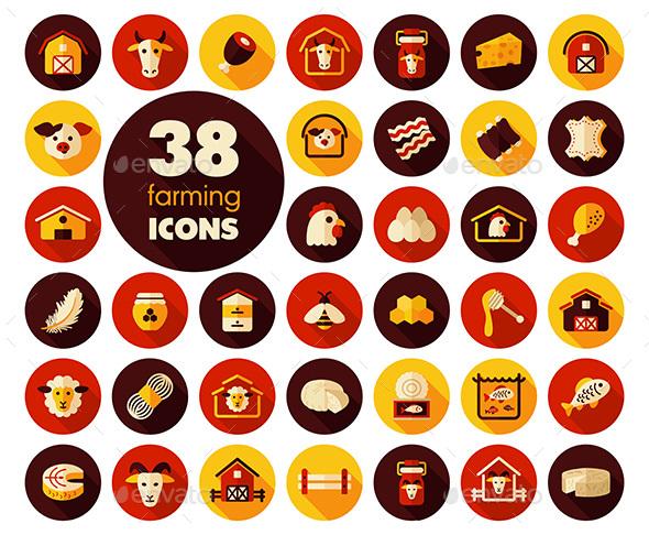 Farm animal icons vector set - Food Objects