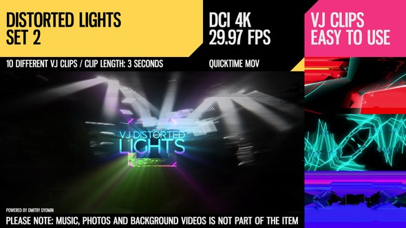 Videohive - VJ Distorted Lights (4K Set 2) - 18037777