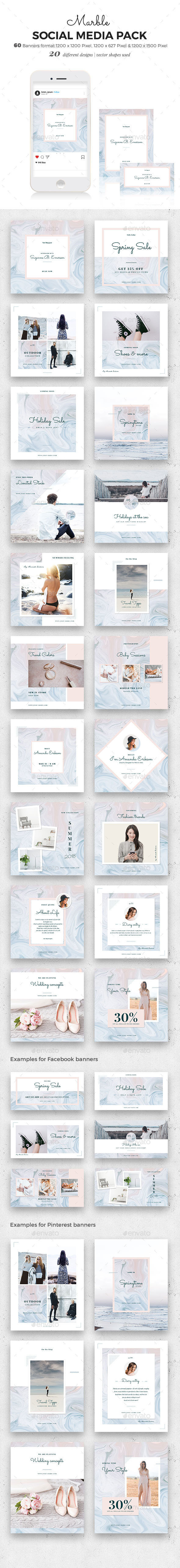 Marble Social Media Pack - Social Media Web Elements
