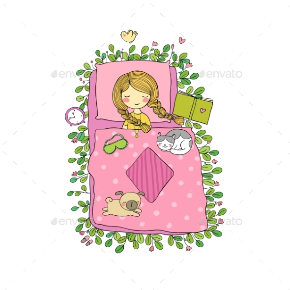 Girl, Cats and Dog Sleep in Bed. Good Night. - Miscellaneous Vectors