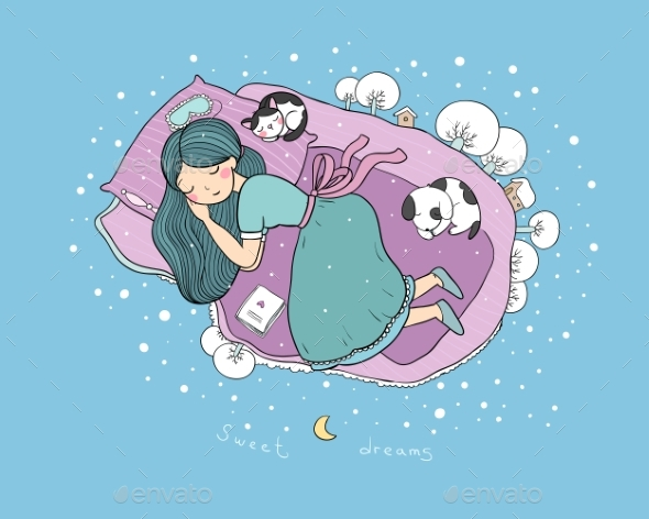 A Girl, a Dog and a Cat Are Sleeping on the Bed - Animals Characters