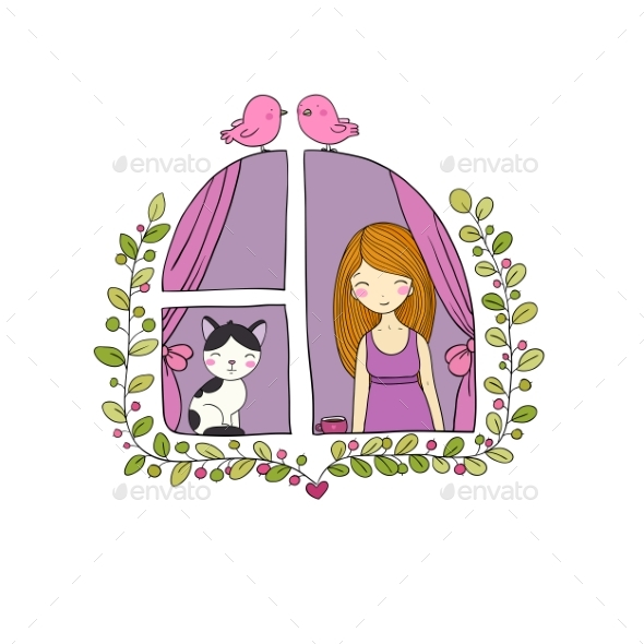 Girl and Cat at the Window. - Animals Characters